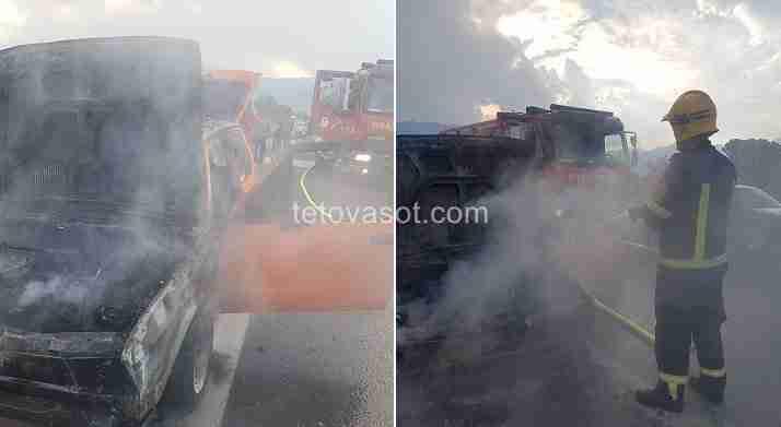 Ndodhi para pak çastesh  Makina shpërthen në flakë në autostradën Tetovë   Shkup  tek ura e Zhelinës  FOTO